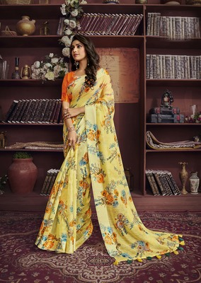Yellow woven cotton saree with blouse