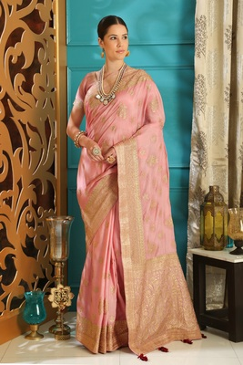 Light pink embroidered silk saree with blouse