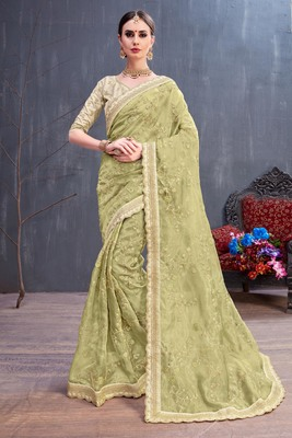Olive embroidered organza saree with blouse