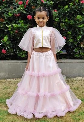 Kids Pink Net With Satin Designer Lehenga Choli