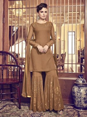 Brown diamond work faux georgette salwar