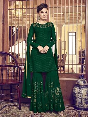 Green diamond work faux georgette salwar