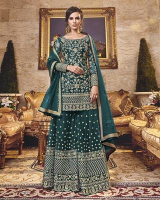 Dark-jade embroidered net salwar