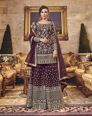 Dark-plum embroidered net salwar