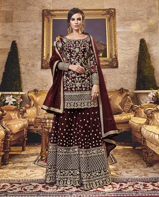 Dark-chocolate embroidered net salwar