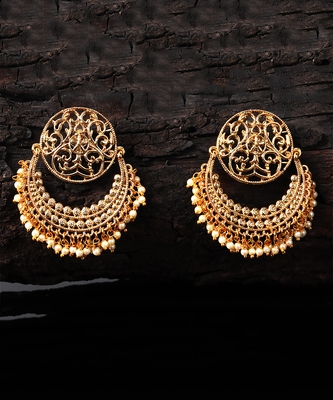 Gold Plated Beaded Handcrafted Chandbali
