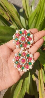 multi colour   Kundan Stud Earrings
