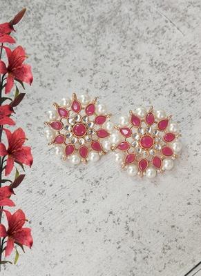 Ruby Kundan Stud Earrings