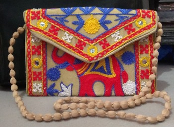 thread work embroidery Clutch