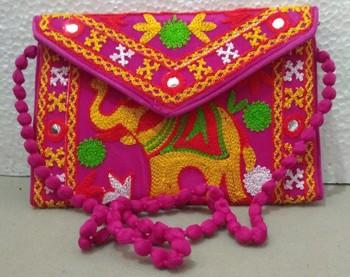 thread work embroidery Clutch