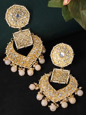 Gold Toned & Peach Coloured Classic Drop Earrings