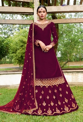 Eid Mubarak Pakistani Wine Georgette Embroider Work With Ghaghra Suit