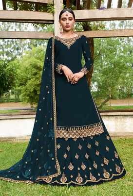 Rama Green Georgette Embroider Work With Ghaghra Suit