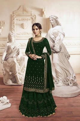 Green Georgette Embroidery Palazzo Style Semi Suit