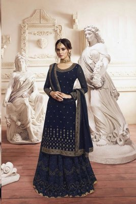 Blue Georgette Embroidery Palazzo Style Semi Suit