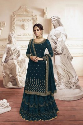 RAMA Green Georgette Embroidery Palazzo Style Semi Suit
