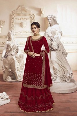 Maroon Georgette Embroidery Palazzo Style Semi Suit