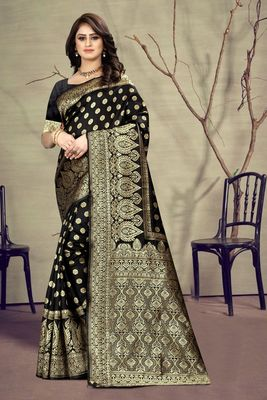 Black woven kanjivaram silk saree with blouse