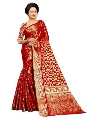 Red Woven Banarasi Silk Saree With Blouse Piece