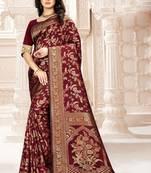 Buy Maroon Woven Kanjivaram Silk Saree With Blouse