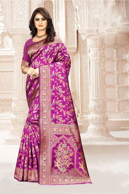 Purple woven kanjivaram silk saree with blouse