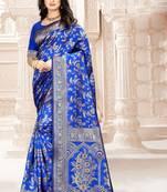 Buy Royal Blue Woven Kanjivaram Silk Saree With Blouse