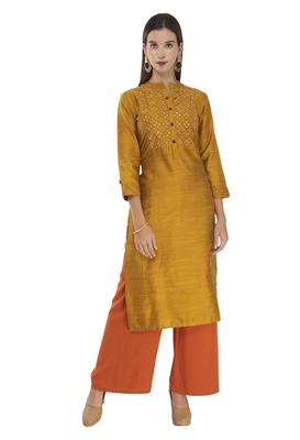 Womens Printed Straight Polly Silk Kurta