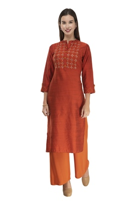 Womens Embroidered Straight Polly Silk Kurta