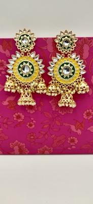 Multicoloured Contemporary Gold Plated Meenakari Jhumki Earrings