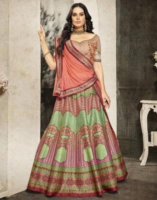 Multicolor floral print silk unstitched lehenga