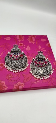 Contemporary Silver Oxidized Stone Studded Designer Earrings