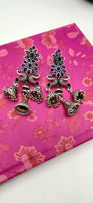 Silver Oxidized Peacock Shaped Blue Stone Studded Drop Earrings