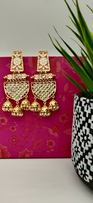 Peach Enamelled Kundan Contemporary Jhumki Earrings