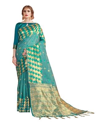 Sea green woven linen saree with blouse