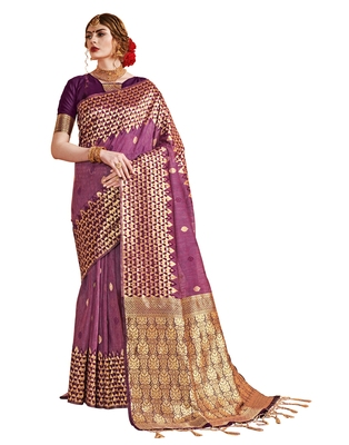 Onion pink woven linen saree with blouse