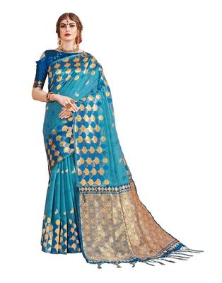 Aqua blue woven linen saree with blouse