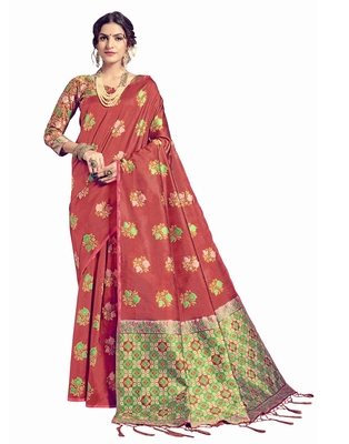 Coral woven tussar silk saree with blouse