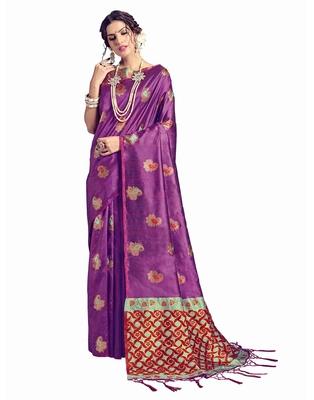 Magenta woven tussar silk saree with blouse