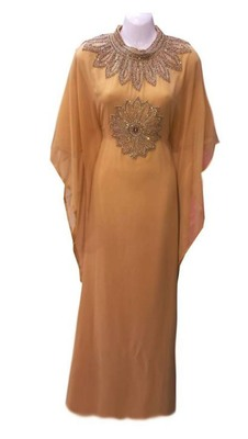 beige moroccan dubai kaftan farasha zari and stone work dress
