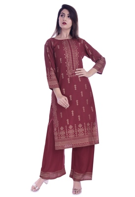 Multicolor printed rayon kurtas-and-kurtis