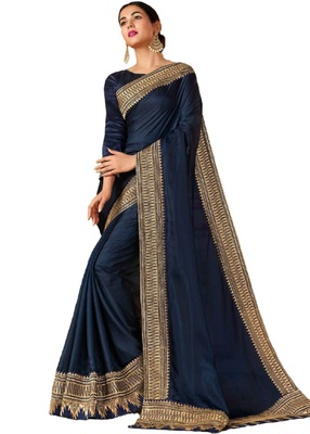 navy blue embroidred art silk saree with blouse