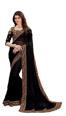 Black Georgette Lace Border Saree with Blouse