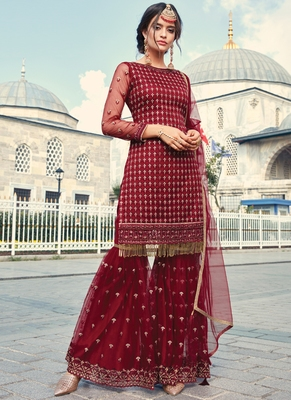 Maroon Embroidered Wedding Gharara Suit