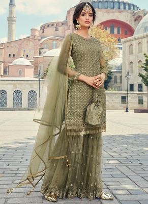 Green Embroidered Partywear Gharara Suit