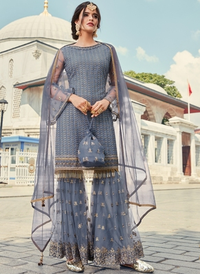 Sky Blue Embroidered Designer Gharara Suit