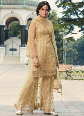 Cream Embroidered Wedding Gharara Suit