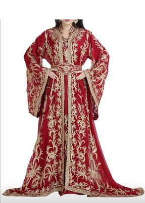 maroon embroidered georgette wedding moroccon farasha kaftan