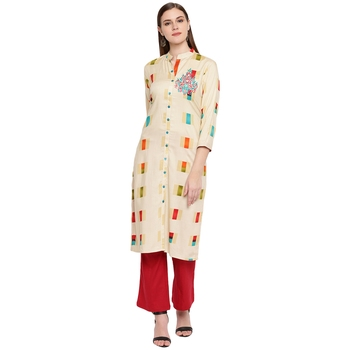 Beige embroidered rayon kurtas-and-kurtis