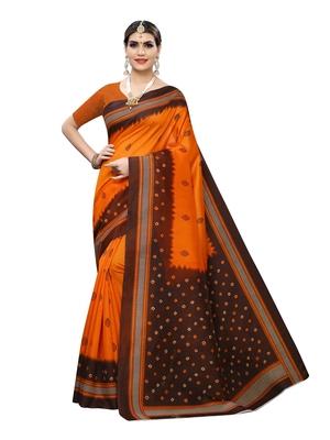 Orange printed poly silk saree with blouse