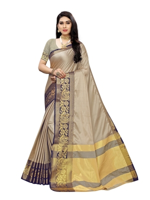 Grey woven poly silk saree with blouse